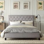 full size tall upholstered bed in grey scheme with headboard and standing floor for amazing bedroom ideas