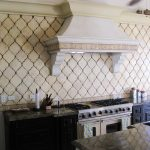 full wall beveled arabesque tile for kitchen together with black wooden kitchen cabinets ideas and marble countertop