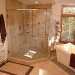 functional shower ideas for master bathroom with corner walk in shower and ceramic bathtub aside plus tiling floor and rug plus towel bar
