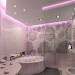 glamor small bathroom design with corner small tub with wall lighting and walk in shower