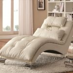 gorgeous and posh comfy chair for bedroom design in white with tufted pattern and headrest and white furry rug