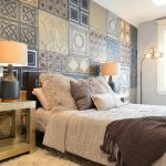 gorgeous bedroom design with mixture of wallpaper and white bedding and natural wooden end table