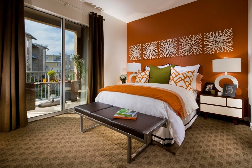 fabulous orange accent wall bedroom | Energize Your Interior with Orange Accent Pillow | HomesFeed