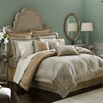 gorgeous golden bedding design with arched headboard and round wall mirror and lovable queen california king bed comforter set