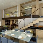 gorgeous modern and beautiful interior design with staircase and glass railing idea and navy blue dining set and glass table