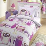 gorgeous purple owl bedding set with big print and small single bedding and owl curtain and wooden floor