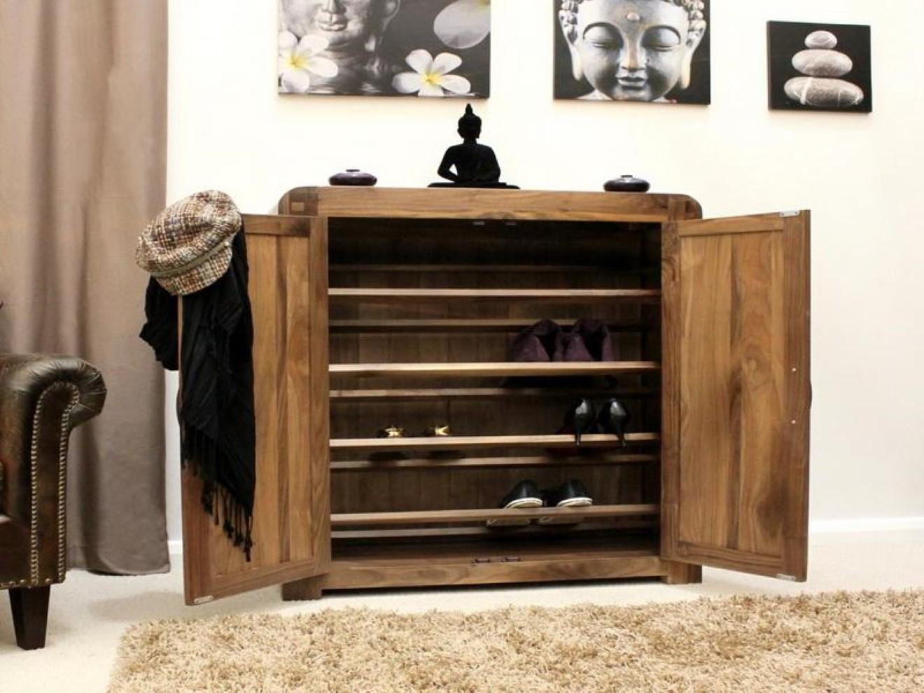 Shoe Storage In The Entry Stylish Shelving Idea