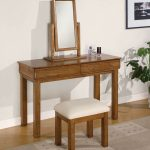 gorgeous simple wooden dresssing table design with small uphostered bench and flip flop mirror with sweet wooden frame