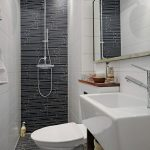 gorgeous white and gray small toilet dimension design with floating white vanity and gray flooring and walk in shower