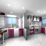gorgeous white and purple combination of kitchen cabinet planner idea with open plan and modern bar and tile floor