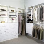 Gorgeous White Walk In Closet Design With White Dresser For Closet Idea On Gray Floor Rug