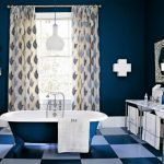 great navy blue bathroom color trend idea with freestanding bathtub and plaid flooring idea and glass window
