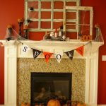 halloween themed rustic mantel decor with pumpkin and awesome accessories plus spider's web