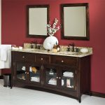images of bathroom vanities with granite countertops and stunning sink and bronze faucets together with framed mirror on red painted wall