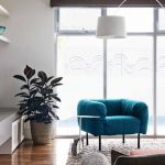 Indoor Potted Plant Design In The Corner Of Living Room Wih Blue Sofa Idea With Area Rug And Floor To Ceiling Glass Window And Wooden Floor