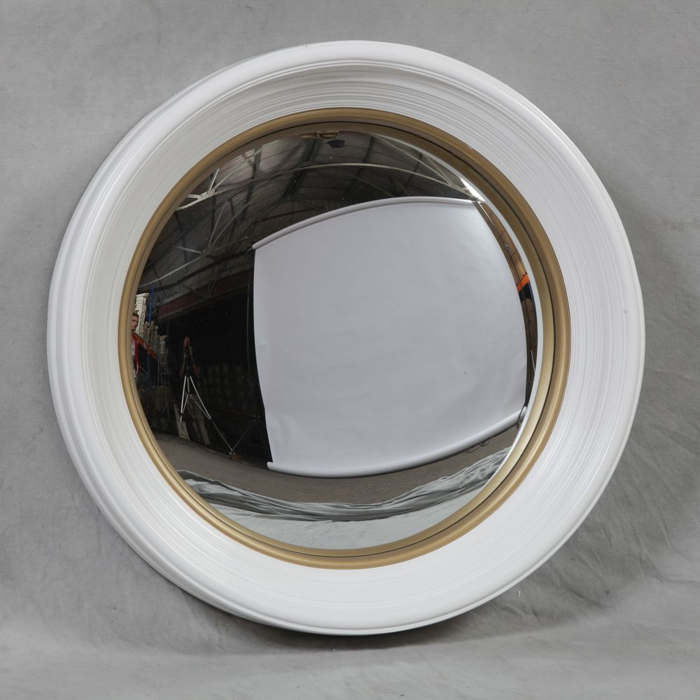 Large White Framed Small Convex Mirror For Striking Home Ideas