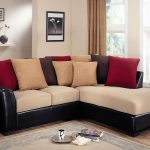 leather apartment sectional sofas with soft uphorstery and comfortable decorative cushions and patterned rug on wooden floor