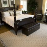 Leather Bed Ottoman Bench With Tufted Accent In Brown Scheme Featuring Storage For Keeping Stufff Neat And Admirable Rug Together With Wooden Bed Frame
