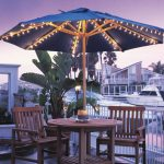 lighted patio umbrella together with table and chairs for patio ideas