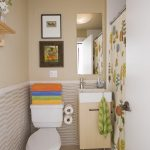 lovable and colorful small toilet dimension design with colorful towel and wallpaper and green rug