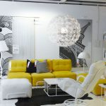 lovable living room design with wall mural decoration and yellow tufted sectional sofa and white modern ergonomic reclining chair