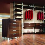 lovable master closet design with compact portable dresser on wooden floor with adorable storage