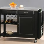 lovable short black kitchen cart with wheels design with wine rack and white top