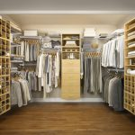 lovable tan walk in closet design with yellow storage and tan dresser for closet design and wooden floor