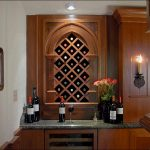 luxurious and classic storage idea with marble countertop with diamond style wine rack