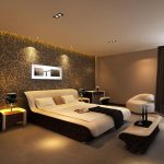luxurious bedroom design with brown wallpaper accent and creamy painted wall and black curtain and white bed sheet and great lighting