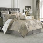 Luxurious California King Bed Comforter Sets In Attractive Motif And Tufted Headboard For Amazing Bedroom Ideas Featuring Nightstand