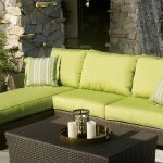 Luxurious Green Sectional Sofa Clearance Idea With Rattan Frame And Black Coffee Tabke Aside Pool