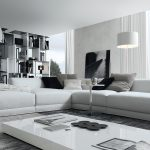 Luxurious Living Room Ideas With Most Comfortable Sectional Sofa In White Plus Extra Wide Coffee Table And Large Area Rug Together With Hug Cabinets And Elegant Windows