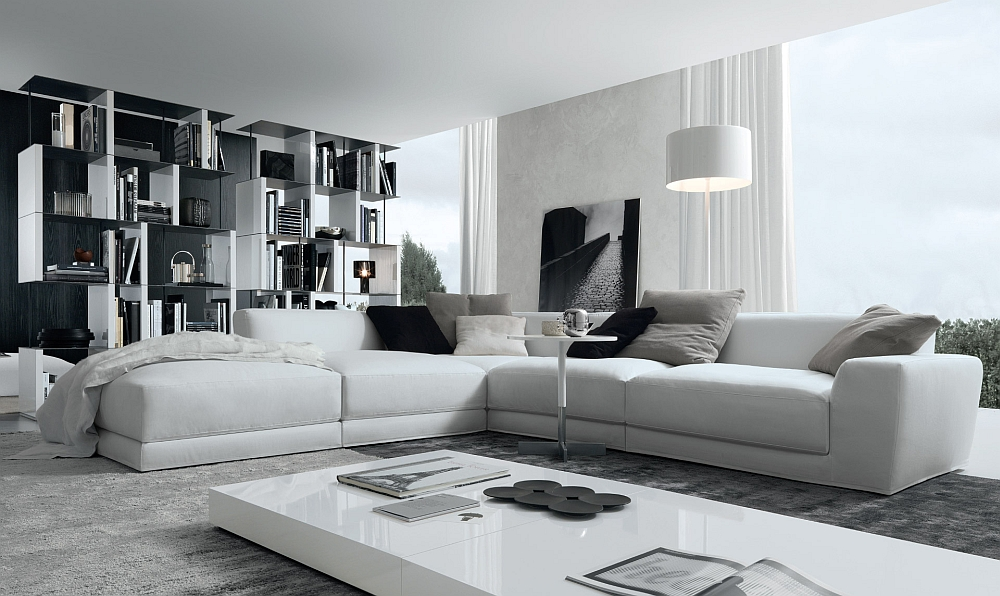 Luxurious Living Room Ideas With Most Comfortable Sectional Sofa In White Plus Extra Wide Coffee Table