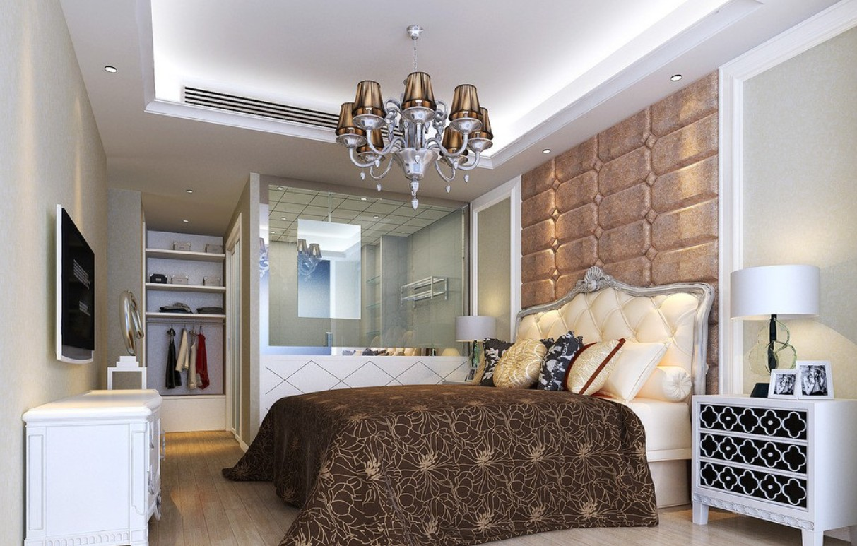 Luxurious Master Bedroom Design Idea With Bold Bedding And Brown Sheet Wall Panel Closet