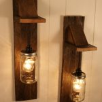 Mason Jar Wooden Light Fixtures For Wall With Traditional Design
