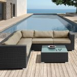 Microfiber Sectional Sofa Clearance With Soft Brown Upholstery Together With Stunning Square Coffee Table For Outdoor Together With Luxurious Pool And Wooden Floor