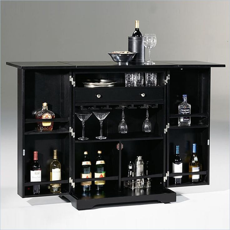 Mini Home Bars Ikea With Great Storage For Wine And Gles In Black Finishing