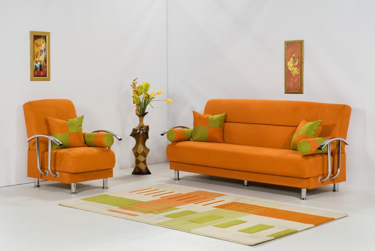 Orange And Green Sofa Sets Baci Living Room