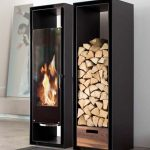 Modern Indoor Firewood Box  A Built In Cabinets With The One For Fireplace And The Other For The Logs Also Features Large Dark Glass Fronted Closets With Stainless Steel Hardware