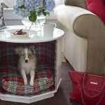 Nice And Elegant Dog Crates From Modifying The Sofa Table Placed In The Living Room Also Adding The Dog's Bed Inside The Crate While Above Is Used As Sofa Table
