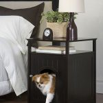 Nice Black Dog Crate Underneath The Nightstand In The Bedroom With Black Color For Being Close With The Dog Without Sharing The Bed