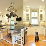 Nice Dog Crates Modified From A Kitchen Island In The Kitchen With White And Black Color And Near Pub Chairs