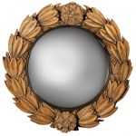 ornamented craved small convex mirror for home interior decoration