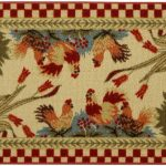 Rectangular Rooster Kitchen Rugs With Gorgeous Patten For Chicken Kitchen Decorating Ideas