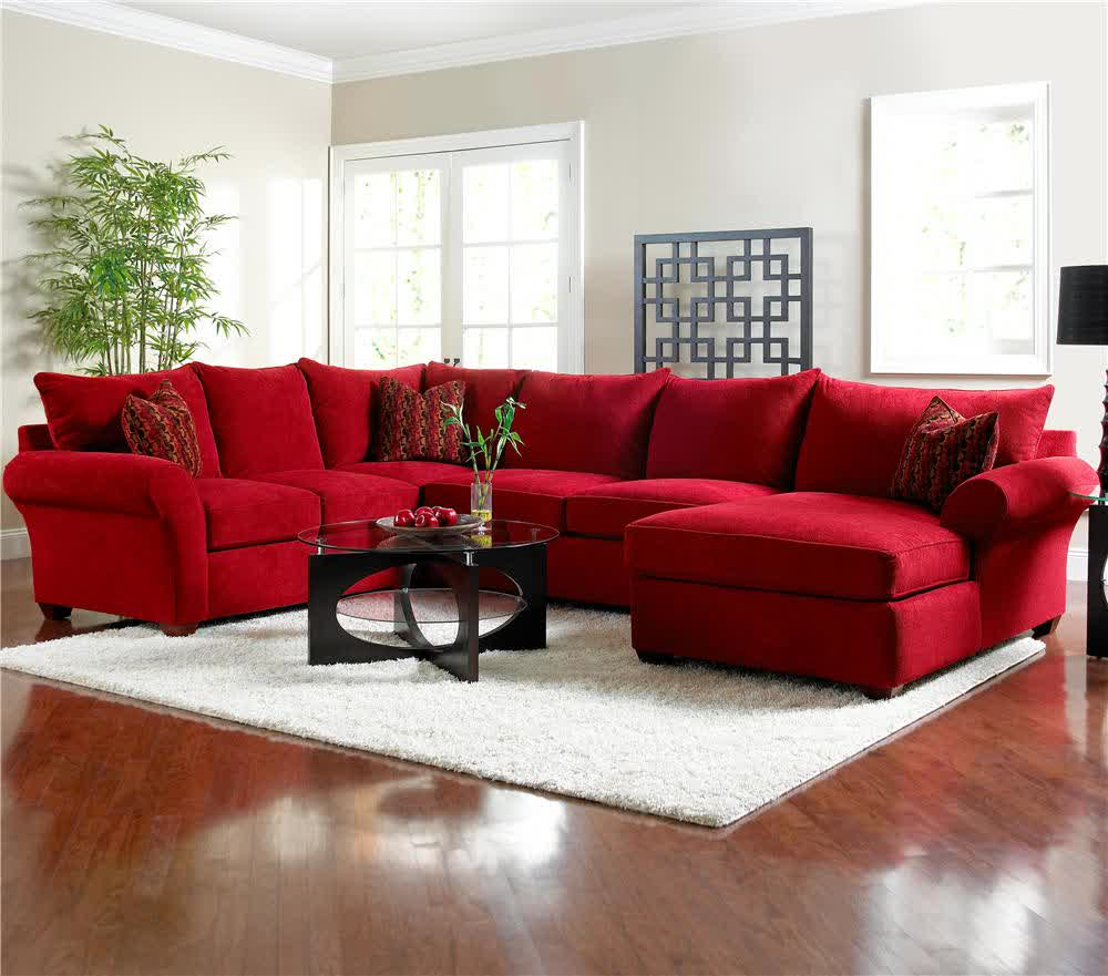 Red microfiber sectionals highlight your living room Red sofa ideas