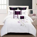 scarlett purple white comforter sets king for girly bedroom ideas and striking night table with small grey table and wooden floor