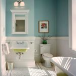 sensational white blue bathroom color trend with indoor plant and wlal lamps and yellowish white bathtub and honeycomb flooring