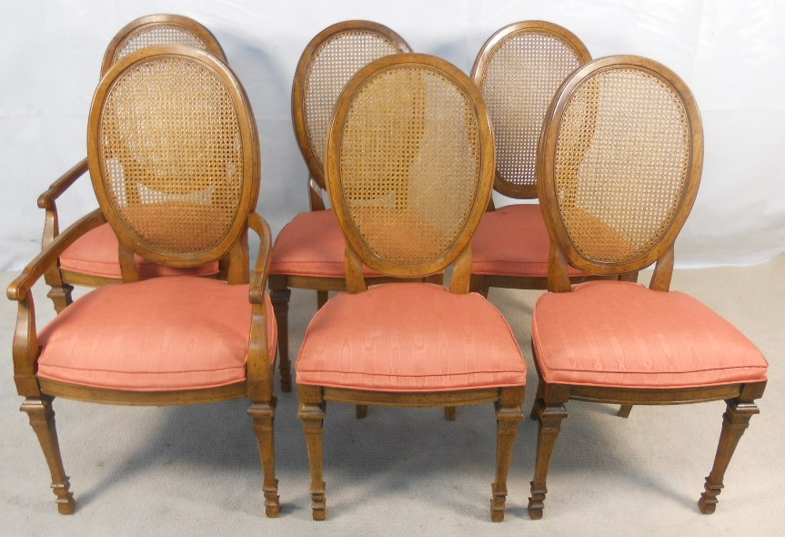 Set Of Cane Back Dining Chair Made Wallnut Wood Combined With Peach Upholtery
