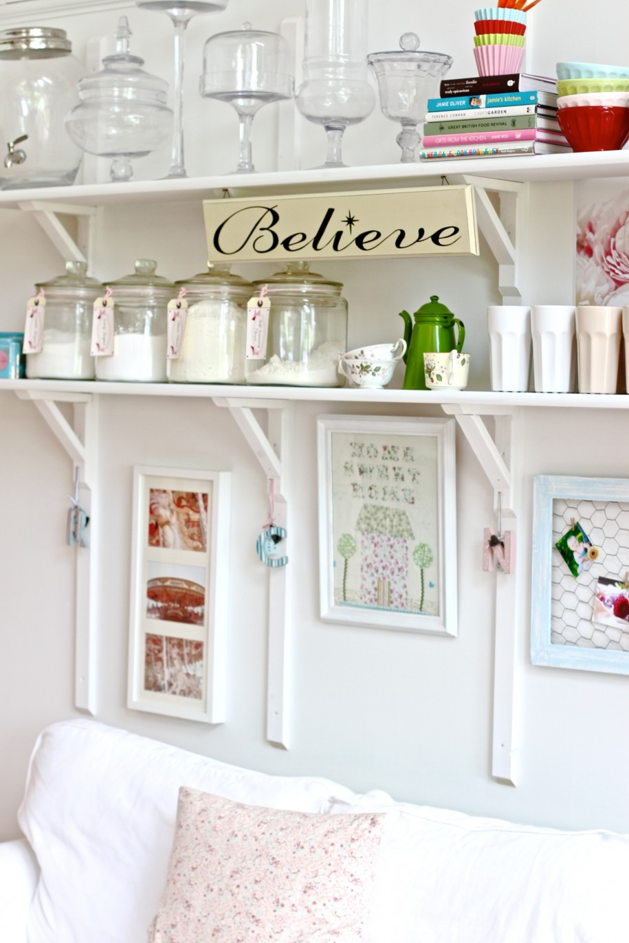 Shabby Chic Kitchen Design With White Floating Shelves And Frame Target Picture